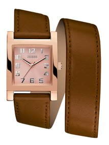 GUESS Rose Gold-Tone and Cognac Enduring Chic