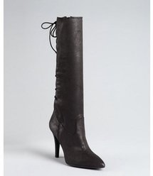 BCBGeneration black stretch suede &#x27;Erinn&#x27; lace back boots