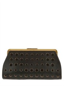 Perforated Leather And Patent Clutch