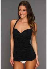 DKNY - Bardot Shirred Tankini w/ Molded Cups (Black) - Apparel