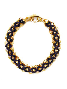 Riviera Gold Chain & Blue Cord Necklace