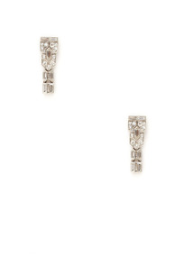 Art Deco Platinum &amp; Diamond Linear Drop Earrings