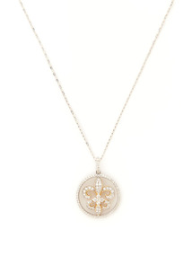 Estate Diamond Cutout Fleur De Lis Disc Pendant Necklace
