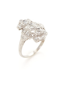 Art Deco Platinum & Diamond Multi-Shape Cluster Ring