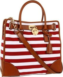 MICHAEL Michael Kors - Hamilton Canvas Large NS Tote - Striped Canvas (Red/White) - Bags and Luggage