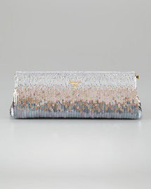 Prada Torpedo Frame Sequin Clutch Bag