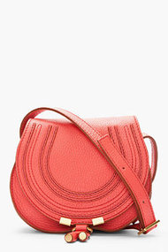 CHLOE Small Coral Pink Leather Marcie Shoulder Bag