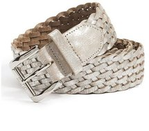 Metallic Silver Braided Belt
