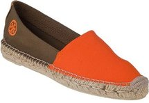 TORY BURCH Bi-Color Flat Espadrille Orange/Olive Linen
