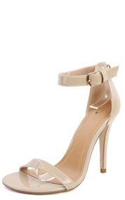 Delicious Chacha-s Patent Ankle Strap Heels DARK BEIGE