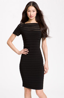 Adrianna Papell Illusion Bodice Pleated Jersey Sheath Dress | Nordstrom