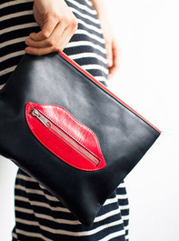 Leather Lips Clutch