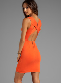 ALICE + OLIVIA Tali Sleeveless Cross Detail Back Dress in Tangerine Spice