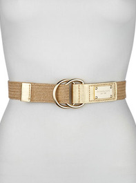 MICHAEL Michael Kors Stretch Straw and Leather Belt