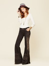 Free People Wildwind Printed Wideleg