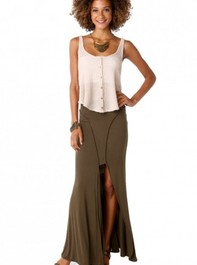 Contour Open Front Maxi Skirt in Olive