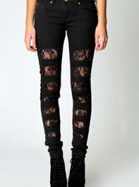 Jade Lace Insert Black Skinny Jeans