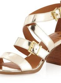 Kelsi Dagger Calico Mid-Heel Sandal, Gold