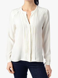 Pleated Placket Blouse in Blanc de Blanc