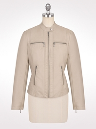 Misses | Jackets & Coats | Neutral Faux Leather Jacket | dressbarn