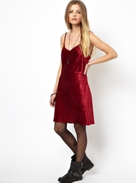 Reclaimed Vintage Slip Dress in Red Crushed Velvet