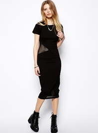 Bodycon Dress With Mesh Asymmetric Panel
