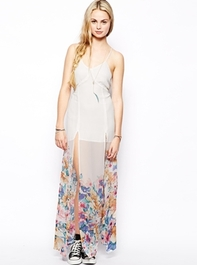 For Love & Lemons Late Nights Silk Maxi Dress