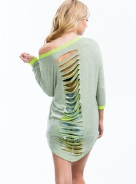 Color Me Neon Shredded Sweater