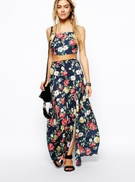 ASOS | ASOS Reclaimed Vintage Maxi Skirt In Floral Print at ASOS