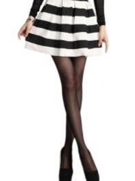 ROMWE Black White Striped Elastic Pleated Skirt
