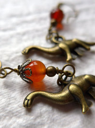 Little Creatures! Dinosaur and Carnelian Gemstone Earrings! SO SWEET!