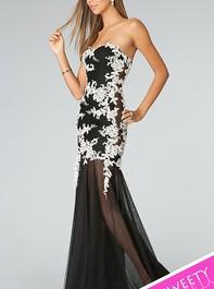 Strapless Long Black-White Prom Dress JVN by Jovani 91085Outlet