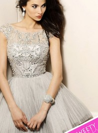 Short Pleated Skirt Party Gunmetal Prom Dress by Sherri Hill 2814Outlet
