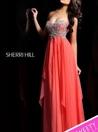 Long Halter Coral Prom Dress by Sherri Hill 3836Outlet