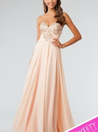 JVN by Jovani Strapless Floor Length Peach Prom Dress 79063Outlet
