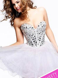 Strapless Party White Prom Dress by Sherri Hill 1403Outlet