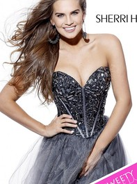 Strapless Party Gunmetal Prom Dress by Sherri Hill 1403Outlet