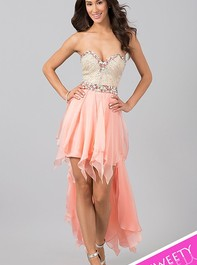 Strapless High Low Peach Prom Dress by Sherri Hill 1920Outlet