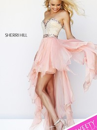Strapless High Low Pink Prom Dress by Sherri Hill 1920Outlet
