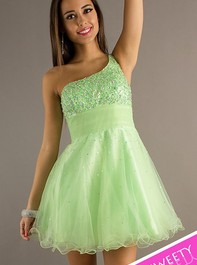 Sweet Sixteen One Shoulder Short Mint Prom Dress by Dave and Johnny 6917Outlet
