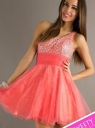 Sweet Sixteen One Shoulder Short Rose Prom Dress by Dave and Johnny 6917Outlet