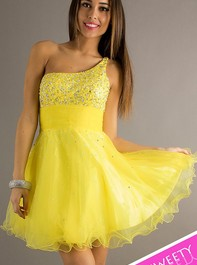 Sweet Sixteen One Shoulder Short Yellow Prom Dress by Dave and Johnny 6917Outlet