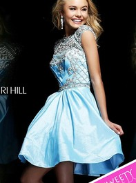 Short Beaded High Neck Cap Sleeve Light-Blue Prom Dress by Sherri Hill 4300Outlet