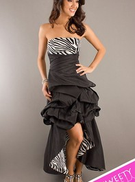Strapless Black Zebra Print Sweet Sixteen Prom Dress with Removable Skirt 8128Outlet