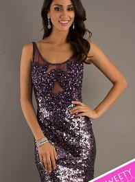 Dave and Johnny Sleeveless Sequin Sweet Sixteen Plum Cocktail Dress 7383Outlet