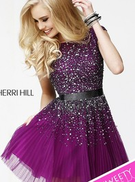 Short Party Plum-Gunmetal Prom Dress with Open Back by Sherri Hill 2840Outlet