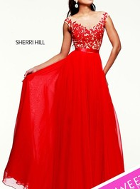Sherri Hill Designer Evening Red-Nude Prom Gown 11151Outlet