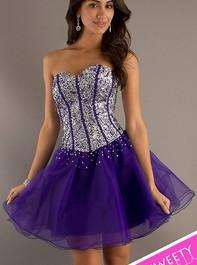 Short Sweetheart Corset Sweet Sixteen Dark Purple Party Dress 2660Outlet