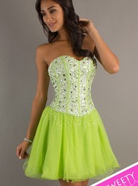 Short Sweetheart Corset Sweet Sixteen Lime Party Dress 2660Outlet