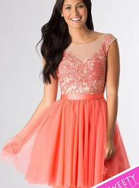 Scoop Back Sherri Hill Embroidered Coral Prom Dress 11171Outlet